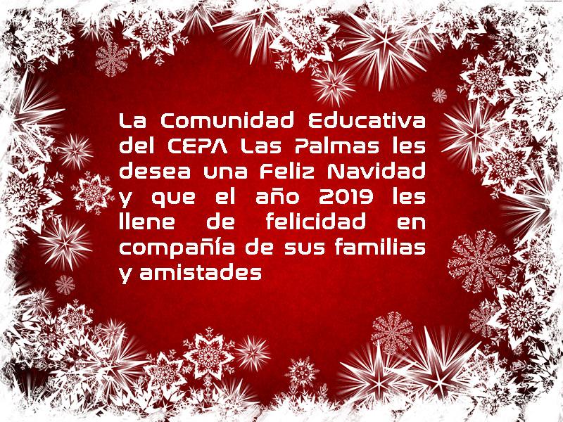 La comunidad educativa del CEPA Las Palmas les desea Feliz Navidad